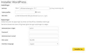 lav din egen hjemmeside - wordpress install
