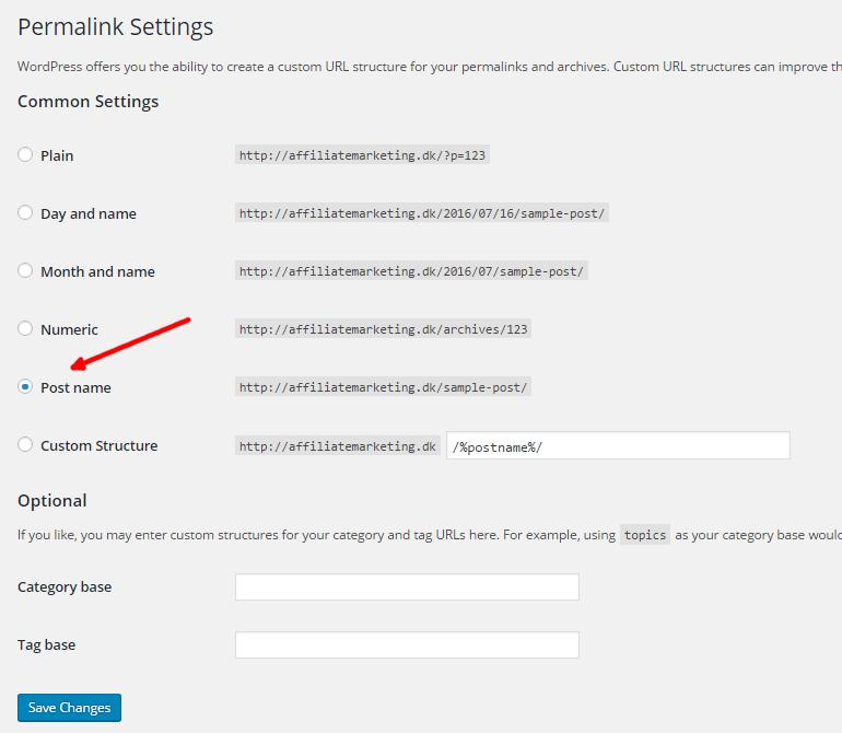 lav din egen hjemmeside - permalink settings